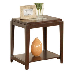Steve Silver Furniture - Steve Silver Ice End Table - The Ice End tables impressive look is sure to add the wow factor to your living room. The stylish End table is offered in a multi-step cherry finish with our signature crackled glass inlays.