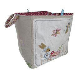 Powell Craft - Brown & White Rabbit Storage Bag - Decorate bedrooms with this UK-designed bag. It's perfect for storage, collapses easily and has adorable appliqués that make it an accent to last little ones through the baby years and beyond.   15.75'' W x 15.75'' H x 15.75'' D 100% cotton Machine wash Imported