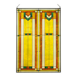 "Maclin Studio - Arts and Crafts Prairie 20"" x 30"" Window Art Glass Panel Green - Our striking new Arts and Crafts Prairie 20"" x 30"" Window Art Glass Panel Green is hand made in the USA with a color palette of Greens, Browns, Gold Ambers and Frosted Clear. Ht: 30.5"" W: 20.5"". On this glass panel, enamel colors are individually applied to a single sheet of tempered glass giving each panel unique aspects of both color and texture. The glass is then framed with a patinated metal came and comes complete with mounting chain."