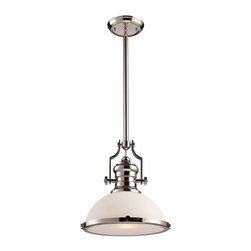 ELK Lighting - ELK Lighting 66113 Chadwick Single-Light Pendant in Polished Nickel - The Chadwick Collection Reflects The Beauty Of Hand-Turned Craftsmanship Inspired By Early 20Th Century Lighting And Antiques That Have Surpassed The Test Of Time.This Robust Collection Features Detailing Appropriate For Classic Or Transitional D�cors.White Glass Compliments The Various Finish Options Including Polished Nickel, Satin Nickel, And Antique Copper. Amber Glass Enriches The Oiled Bronze Finish.Specifications:
