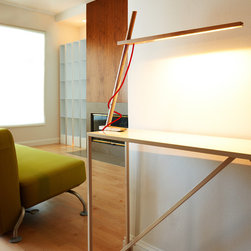CLAMP - LED Desk Lamp | Pablo - Pablo Lighting CLAMP LED Desk Lamp features contemporary clamp design, 360 degree rotation and hard wood construction available in white oak or walnut.