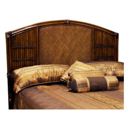 Hospitality Rattan - Polynesian Twin Headboard in Antique Finish ( - Choose Size: KingMade of Wood Frame & Woven Wicker . Finished in Antique Color. Durable, yet elegant construction. Fully assembled. Wood frame construction. Tropical island style design. Twin: 2 in. L x 43 in. W x 54 in. H (17 lbs.). Queen: 65 in. W x 2 in. D x 54 in. H (35 lbs.). King: 83 in. W x 2 in. D x 54 in. H (50 lbs.)This Polynesian bedroom collection is one of our fine rattan and bamboo sets. The great looking tropical wicker bedroom set. In addition metal glides are used on all the case good pieces. Glass is not included.