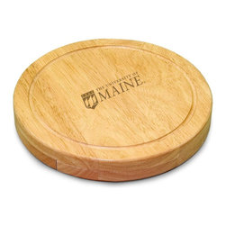 "Picnic Time - University of Maine Circo Cheese Board - The Circo by Picnic Time is so compact and convenient, you'll wonder how you ever got by without it! This 10.2"" (diameter) x 1.6"" circular chopping board is made of eco-friendly rubberwood, a hardwood known for its rich grain and durability. The board swivels open to reveal four stainless steel cheese tools with rubberwood handles. The tools include: 1 cheese cleaver (for crumbly cheeses), 1 cheese plane (for semi-hard to hard cheese slices), 1 fork-tipped cheese knife, and 1 hard cheese knife/spreader. The board has over 82 square inches of cutting surface and features recessed moat along the board's edge to catch cheese brine or juice from cut fruit. The Circo makes a thoughtful gift for any cheese connoisseur!; College Name: University of Maine; Mascot: Black Bears; Decoration: Laser Engraving; Includes: 1 Hard cheese knife, 1 Cheese shaver, 1 Fork-tipped cheese knife, 1 Cheese spreader"