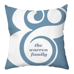 Ampersand Personalized Throw Pillow - A stylish gift idea for the newlyweds, this Ampersand Personalized Throw Pillow has contemporary charm and personalized flair for any sofa or bed. Personalize this throw pillow with the message of your choice. It features a soft polyester cover with cotton and polyester blend fill. This throw pillow has a classic blue background with white ampersand and a coordinating pattern on the reverse.