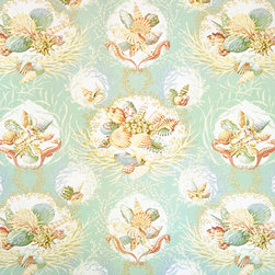 Aqua seashell fabric coral seahorse seaglass green, Standard Cut - An aqua seashell coral fabric with seahorses. Not just a toss of shells, but a still life with seashells, coral, and seahorses! This is a classic!