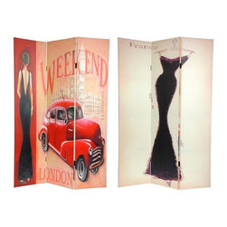 Oriental Furniture - 6 ft. Tall Double Sided Vintage Weekend Canvas Room Divider - London - This unique screen is adorned with vintage graphic art, one side a 1920's London travel poster, the other an eye catching impressionist style drawing of a dark colored evening gown. Simple, subtle, attractive imagery and rich colors make this screen a beautiful decorative accent for any room- living room, bedroom, dining or kitchen. A wonderful burst of color and shape that lifts the spirits of the space and the occupants. Each side has a different image as shown.