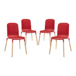 LexMod - Stack Wood Dining Chairs Set of 4 in Red - Acquaint yourself with an intelligent piece concealed behind sheer simplicity. Stack exhibits fluid lines and an organic form in a seamless transition from the abstract to the definite. Made from a painted durable steel top and solid beech wood legs, Stack coalesces both form and purpose in a harmoniously designed piece that matches well in any uncomplicated decor.
