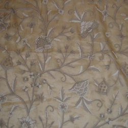 Crewel Fabric World by MDS - Crewel Fabric Tree of Life Neutrals on Desert Sand Silk Organza- Yardage - Inspiration:Tree of Life is a pattern inspired by the flowers of kashmir.This Crewel Fabric representing the flowers in a garden is a delicate balance of real flowers and an artists imagination.History: Tree of Life was added to our collection to provide the joy of the flower into our homes.Use:Tree of Life is for you if you want a beautiful Crewel Fabric to make your home stylish and elegant. Suitable for Upholstery and Drapery. It Enriches our Living by bringing a bright Jacobean Floral Crewel into our homes.