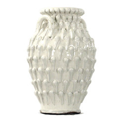Ceramic Vase White - This remarkable vase looks as if it's been transported from a Grecian palace or a Roman palazzo. It allows you to showcase a classic urn shape in your dining room or living space, plus the amazing exterior provides added allure.
