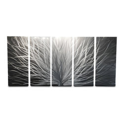 """Miles Shay - Metal Wall Art Decor Abstract Contemporary Modern Sculpture Radiance 36"""" 5 panel - This Abstract Metal Wall Art & Sculpture captures the interplay of the highlights and shadows and creates a new three dimensional sense of movement as your view it from different angles."""