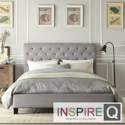 Inspire Q - Inspire Q Sophie Grey Linen Tufted Platform Bed - Beautify the bedroom with this stylish tufted platform bed. Featuring a gorgeous linen headboard, a sturdy wood frame and a shiny black finish, this bed includes a set of rails and 26 Euro system slats to support the mattress.