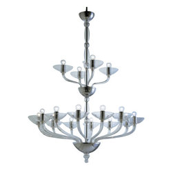 """AVMazzega - AVMazzega Ninfea 9002/16 16 Lights Chandelier - The Ninfea 16 lights chandelier by AVMazzega has been designed by Archivio Storico AVMazzega . AVMazzega propose in its collection timeless Venetian chandeliers from the past, in the present, to the future. The chandeliers of the '900 line have a natural, elegant line that makes them suitable for every room and the simple style of the shapes and the lack of the conventional venetian decorations transform them in liquid light. Neat and harmonious shapes characterize the Ca'Balbi and Ca'Dona lines, while a sinouos glamour takes form in the Octopus line. On request, each chandelier can be mould according to the desire of the customer, making it even more special this essence of preciousness, color and handcraft. This fixture comes with chrome gold metal frame.  Product Details:   The Ninfea 16 lights chandelier by AVMazzega has been designed by Archivio Storico AVMazzega . AVMazzega propose in its collection timeless Venetian chandeliers from the past, in the present, to the future. The chandeliers of the '900 line have a natural, elegant line that makes them suitable for every room and the simple style of the shapes and the lack of the conventional venetian decorations transform them in liquid light. Neat and harmonious shapes characterize the Ca'Balbi and Ca'Dona lines, while a sinouos glamour takes form in the Octopus line. On request, each chandelier can be mould according to the desire of the customer, making it even more special this essence of preciousness, color and handcraft. This fixture comes with chrome gold metal frame.  Details:       Manufacturer:     AVMazzega        Designer:    Archivio Storico AVMazzega      Made in:    Italy      Dimensions:     Diameter: 38.6"""" (98 cm) X Height: 51.2"""" (130 cm)        Light bulb:     16 x E14 Max 60W        Material:     Murano glass"""