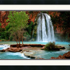Amanti Art - Havasu Falls Framed Print by Andy Magee - At Havasu Falls, spring fed waterfalls cascade down into pristine turquoise pools.  This little piece of paradise is located in the Grand Canyon National Park.