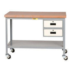 Little Giant Butcher Block Top Mobile Workbench with Drawers - The Little Giant Butcher Block Top Mobile Workbench with Drawers is completely mobile with four hard rubber casters with wheel brakes. It has a 1.75 inch thick butcher block top with a two-coat catalyzed varnish finish. For extra storage, this workbench includes two locking drawers and a lower shelf. The top is attached to an all-welded, angle steel frame for superb rigidity and strength. The hard maple top is impact resistant, non-conductive, resists damage from heavy blows, and provides a durable, yet 'forgiving' work surface. It has a 90-day limited warranty and is welded and shipped assembled, ready for immediate use.About Little Giant ProductsThe Little Giant Products Division of Brennan Equipment & Manufacturing Inc. has been providing innovative material handling and industrial storage solutions for over 50 years. From their centrally located manufacturing facility in the southwest suburbs of Chicago, they produce an extensive line of workbenches and shop furniture, industrial storage equipment, floor trucks, and hand carts. Their products feature all-welded construction from heavy-gauge steel, and have earned a reputation within the industry for quality and durability in even the most demanding applications.