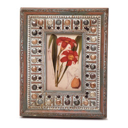 """Traders and Company - Enamel Inlaid 4x6 Wood Picture Frame w/ Jewels, 8.25""""Lx1.5""""Wx10.25""""H - Cloisters - Crafted from wood and given a classically antiqued look, each frame is dramatically inlaid with swirled resinous enamel. Embedded colorful rhinestone jewels dot the design, adding sparkle and shimmer to your photos. Each frame comes with an attached kickstand for desktop use, or hooks for vertical or horizontal wall hanging. Fits 4""""x6"""" photos. Alternate shapes & styles sold separately. Dimensions: 8.25""""Lx1.5""""Wx10.25""""H"""
