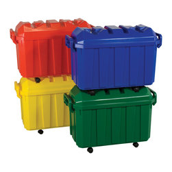 Ecr4kids - Ecr4Kids Assorted Stackable Storage Trunks, Set of 4 - Set of four, bright, 18-gallon storage trunks feature rugged, locking handles for lifting and pulling, and matching dome-shaped lids for added storage capacity. Sturdy 360-degree, swivel casters for mobility. Casters nest into lid of other trunks when stacked. Empty trunks nest within each other.