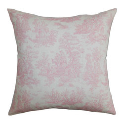 The Pillow Collection - Lalibela Pink 18 x 18 Toile Throw Pillow - - Pillows have hidden zippers for easy removal and cleaning  - Reversible pillow with same fabric on both sides  - Comes standard with a 5/95 feather blend pillow insert  - All four sides have a clean knife-edge finish  - Pillow insert is 19 x 19 to ensure a tight and generous fit  - Cover and insert made in the USA  - Spot clean and Dry cleaning recommended  - Fill Material: 5/95 down feather blend The Pillow Collection - P18-PP-JAMESTOWN-BABYPINK-C100
