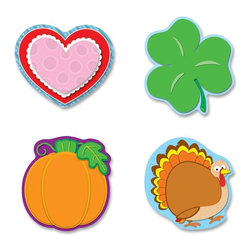 Carson-Dellosa - Carson-Dellosa Holiday Cut-Out Set - Card Stock - Multicolor - Accent your classroom theme, encourage good behavior, create awards, and so much more with these colorful cutouts. Holiday set covers four major holidays including Halloween with an orange pumpkin with a bright green stem and leaves; Thanksgiving with happy turkey with full tail feathers; Valentine's Day with a red and pink heart; and St. Patrick's Day with a bright green shamrock. Ready-to-use cutouts are made of die-cut cardstock. Cutouts are designed for students ages 4 and up.