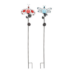 Benzara - Modern and Unique Inspired Cute Metal Solar Stake 2 Assorted Home Accent Decor - Modern and unique inspired cute metal solar stake 2 assorted living dining and family room home accent decor