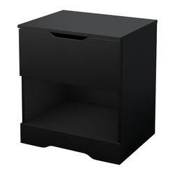 South Shore - South Shore Trinity Night Stand in Pure Black - South Shore - Nightstands - 3370062 - This Nightstand in Pure Black finish with straight, clean lines and decorative kickplate is a great pick for any contemporary setting. It includes 1 drawer on metal glides that ensures smooth opening and closing thanks to its cut-out handles and one open compartment.