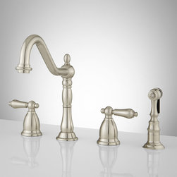Helena Widespread Kitchen Faucet with Side Spray - The Helena Widespread Faucet delivers a timeless beauty to your kitchen with its shapely details and gooseneck spout. Crafted of durable brass, this stunning faucet includes a matching hand spray.