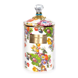 Flower Market Large Enamel Canister - White   MacKenzie-Childs - Flour, sugar, and coffee might seem the most obvious of contents with which to fill a set of three Flower Market Canisters, but the possibilities are endless! Keep them in the kitchen with coffee beans and tea bags, cookies and candies, dog biscuits or birdseed, or invent new uses around the house. Perfect for cotton balls and swabs in the bathroom, pens and pencils in the office, or knick-knacks and doodads in the kids room. Color glazed in black, blue, green or white, each Flower Market Enamel Canister is decorated with hand-applied fanciful botanical transfers that recall a lush English garden in the peak of summer. These canisters stand handsomely alone or harmonize delightfully in a multicolor set.