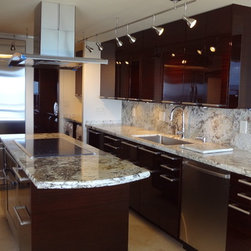 Fort Lauderdale - Contemporary custom kitchen cabinets in high gloss finish and granite counter tops