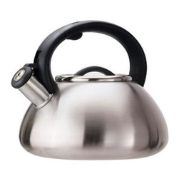 Epoca - Whistling Kettle Stainless - This 2.5 Qt. Avalon Tea Kettle from the Epoca Primula Collection is made of brushed stainless steel with a seamless bottom. It features a stay-cool handle with a trigger spout for safe handling and a removable lid for easy cleaning and filling. Classic whistle sounds when water is boiling.
