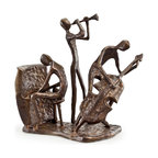 Danya B. - Musician Trio on Base Bronze Sculpture - This elegant cast bronze sculpture of a musician trio will delight you with its composition. Elegant, artistic and contemporary in feel and design. Handcrafted and casted using the sand casting method. For the music lover. Great colllector's item