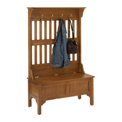 Home Styles - Home Styles Province Hills Hall Tree Multicolor - 5649-49 - Shop for Benches from Hayneedle.com! The Province Hall Tree makes a comfortable and decorative accent piece for any entryway or foyer. It is made of solid wood construction and features a full lift top storage bench with plenty of room for clothes boots blankets and more. The storage bench lid has a safety hinge to hold it in the open position which prevents it from dropping down. The lid closes easily with a gentle push.On the top are four convenient brass hooks that take care of hanging coats hats and umbrellas. The top shelf is perfect for displaying decorative accessories on the shelf measuring 40W x 7.75D inches. This durable hardwood Hall Tree with Storage Bench is easy to assemble.About HomestylesHomestyles is a manufacturer and distributor of RTA (ready to assemble) furniture perfectly suited to today's lifestyles. The great difference between Homestyles and many other RTA furniture manufacturers is that all Homestyles pieces are crafted of solid wood an important quality. When shopping for convenient durable items for the home look to Homestyles. You'll appreciate the value.