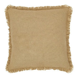 "VHC Brands - Burlap Natural Fabric Euro Sham Pillow - This fabric euro sham measures 26""x26"" and is a 100% cotton woven into a ""burlap"" fabric for a soft, natural look and feel. The back features a 3-button closure with a 3"" overlap to conceal the pillow insert. The front features a .5"" ruffle that has an additional .5"" fringe. Spot clean with a damp cloth."