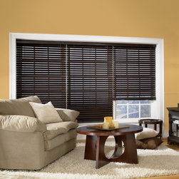 "Wood Blinds - Northern Heights represent Bali's premier hardwood blind.  2"" slats provide greater view-thru and a more elegant appearance.  Select North American hardwood makes for slats that are both stronger and lighter, so your blinds will be easy to lift and operate.  Customize your blind with a premium valance upgrade, the ""NoHoles"" routeless option for increased privacy and light control, or with cloth tapes for a stylish decorator finish."