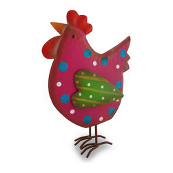 Zeckos - Whimsical Pink Polka Dot Chicken Glitzy Tin Sculpture - All gussied up in glitter and stripes, this chicken has flown the coop to live the `clucky` life in your kitchen, office or dining room Crafted from tin and hand-painted in pink and green with blue glitter polka dots and sparkling yellow stripes, this `Hen-pecked` 10.75 inch (27 cm) high, 8 inch (20 cm) long, 2.75 inch (7 cm) wide chicken sculpture is sure to have you `crowing` with delight