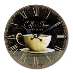 YOSEMITE HOME DECOR - 13.5 in. Circular Wooden Wall Clock with coffee cup print - Plot your next cuppa while you admire this faux antique, wooden wall clock. Beautifully timeworn, the edges of the clock are faded and the Roman numerals mark off the minutes until your next coffee break.