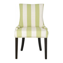 Safavieh - Cadencia Dining Chair - The Cadencia dining chair by Safavieh is full of elegant ease with low sloped arms and plush upholstery in a poly-linen blend in green and cream awning stripe. The transitional chair is shown with silver nail heads and espresso-finished birch wood legs.