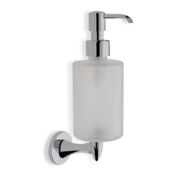 StilHaus - Wall Mounted Round Frosted Glass Soap Dispenser with Chrome Mounting - Wall mounted contemporary style round soap dispenser.