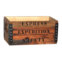 """Small Adams Box, Light Wood - Eclectic and adventurous, the Adams small box is a creative way to add style and storage. The box is perfect for storing upright magazines or tucking hobby supplies out of sight. The wood box has metal-reinforced corners with distinctive rivets and is stamped with """"Express Expedition Safety"""" to add old-time character. Choose just one or scatter multiples throughout your home for coordinated, convenient storage."""