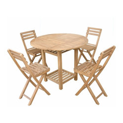 Anderson Outdoor Furniture - Seacrest Counter Set - This teak table and folding chair set are ideal for al fresco dining in smaller spaces. The space-saving folding chairs can be stored under the table. Add an umbrella and cushions for extra comfort and a splash of vivid color.