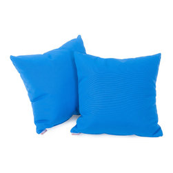 """Best Selling Home Decor - Canvas Capri Blue 17"""" Sunbrella Pillow (Set of 2) - Accessorize your home with these colorful Summit Furnishings Home Sunbrella pillows. Upholstered in soft fabric, these colorful chic accent pillows are a great option to add flare and comfort to your home. Use them indoors or to accessorize your outdoor seating set. Includes: Two (2) sunbrella pillows; Material: Fabric; Pillow shape: Square; Color options: Navy blue, green, capri blue, beige, red; Care instructions: Spot clean with a damp cloth; Dimensions: 17 inches x 17 inches"""