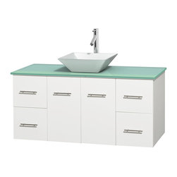 Wyndham Collection - Centra Bathroom Vanity in White,GN Glass Top,Pyra White Sink,No Mir - Simplicity and elegance combine in the perfect lines of the Centra vanity by the Wyndham Collection. If cutting-edge contemporary design is your style then the Centra vanity is for you - modern, chic and built to last a lifetime. Available with green glass, pure white man-made stone, ivory marble or white carrera marble counters, with stunning vessel or undermount sink(s) and matching mirror(s). Featuring soft close door hinges, drawer glides, and meticulously finished with brushed chrome hardware. The attention to detail on this beautiful vanity is second to none.