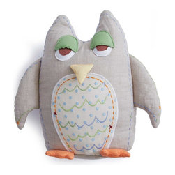 The Little Acorn - Baby Owl Shaped Pillow- Flax - A Decorative pillow good for Girls or Boys, our popular Tooth fairy Owl shaped pillow is now available in BABY size! Great decor in the nursery and a memorable tooth fairy pillow as little one grows up. Great coordinate for Alphabet Adventure and Baby Owls collections. Made of 100% natural flax linen, hypoallergenic poly fill with crafty hand embroidered details and hand quilted 3-dimensional wings, feet, eyes and beak. 12' high shaped pillow with tiny pocket on back for all sorts of things like; tooth-fairy rewards, special treats, or even bedtime notes to encourage little ones to bed. WHOOOooo doesn't love that?! Made in China