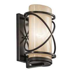 Kichler - Kichler 49357AZ Trafari 1 Light Outdoor Wall Sconce in Architectural Bronze 4935 - This 1 light outdoor wall fixture from the Trafari collection leaves a luminous impression. The Vetro Mica Glass, rich Architectural Bronze finish, and linear detailing will elevate and enhance any space.Single bulb outdoor wall sconces add a touch of elegance to any landscape Housing is constructed of metal - providing years of reliable performance Fully covered under Kichler's 1-year limited warranty Features cylinder shaped glass shade Pair this sconce with a variety of post lights from the Trafari Collection for a coordinated landscapeBulb Type: Incandescent Bulbs Included: No Collection: Trafari Country of Origin: China Energy Efficient: No Extends: 6-3 4 Finish: Architectural Bronze Height: 12 Light Direction: Ambient Lighting Number of Lights: 1 Shade Color: Cream Shade Material: Glass Shade Shape: Cylinder Socket Type: Medium Style: Transitional Wattage: 100 Weight: 4.8 Width: 7-3 4