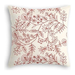 Red Stitch-Embroidered Floral Custom Throw Pillow - The every-style accent pillow: this Simple Throw Pillow works in any space.  Perfectly cut to be extra fluffy, you'll not only love admiring it from afar but snuggling up to it too! We love it in this red crewel embroidered floral on cream cotton. Whether you take it classic, modern or rustic...this playful pattern will leave you in stitches.