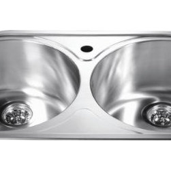 Dawn - Dawn CH333 Equal Double Bowl 20 Gauge 304 Stainless Steel 18/10 Chrome & Nickel - 304 Stainless Steel, 18/10 Chrome-Nickel
