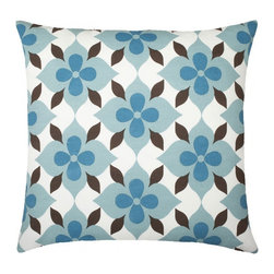 "Coco's Flower Cotton Pillow, Light Blue/Peacock/Brown - Modern and classic - the hallmark of the CocoCozy style.  This 100% cotton decorative pillow is sure to make a statement in any room. Each 20"" x 20"" pillow is custom made and manufactured in the United States with an invisible zipper and a knife edge finish.  Dry clean only."