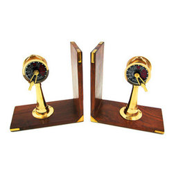 Brass  Wood Ship`s Telegraph Book Ends - This awesome pair of wooden bookends features brass ship`s telegraphs on the maple stained bases. Each bookend measures 6 1/4 inches tall, 6 1/4 inches wide and 3 1/4 inches deep. They are great conversation pieces, and they do a good job holding books up too. They make a great gift for book lovers, and look great in dens or libraries.