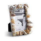"""Frontgate - Sea Shell & Star Fish Picture Frame - Christmas Decorations - Handmade by expert craftsmen. Silver-plated base. Crystallized with clear Swarovski ? crystals. Packaged in a lovely gift box. Handmade in the USA. Adorned with natural sealife, this Sea Shell & Star Fish Picture Frame is the perfect frame for any photo. The frame, designed by Isabella Adams, holds a 3-1/2"""" x 5"""" photo, and can be displayed vertically or horizontally.  .  . Crystallized with clear Swarovski crystals .  . ."""