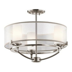 Kichler Saldana 42923CLP Chandelier - 18 in. - Classic Pewter - Three halogen lights (bulbs included), arranged in a circular frame, provide plenty of light for your foyer or dining room with the Kichler Saldana 42923CLP Chandelier - 18 in. - Classic Pewter. Finished in classic pewter, this chandelier has etched opal glass diffusers to soften the halogen glow, and a white translucent organza shade with grey trim for added contemporary style. It comes with 68 inches of lead wire for installation.Kichler QualitySince 1938, Cleveland-based Kichler Lighting has been known for their innovative designs and excellent craftsmanship. Kichler is the world's leading decorative lighting fixture company and the winner of four ARTS Lighting Manufacturer of the Year awards. Kichler designers travel the world to discover the latest trends in exterior and interior style, colors, and designs. They then translate the best of those trends into fixtures that will bring beauty, pleasure, and light into your home. Kichler fixtures stand the test of time and are functional works of art that you're sure to treasure.