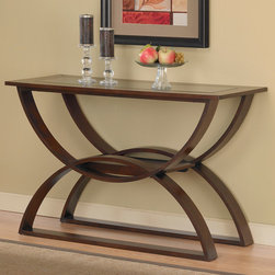 None - Bentwood Walnut Sofa Table - Curved lines and a beautiful medium walnut finish highlight this beautiful sofa table. This table features layered wood with birch veneers and an inset, dark tinted glass top.