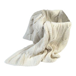 """Happy Blanket - Cable Knit Blanket Throw 51"""" x 63"""" - The texture of this throw is as comfortable as your favorite sweater. This delightful cable-knit throw is sure to keep you warm throughout this winter."""